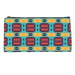 Blue red and yellow shapes pattern Pencil Case