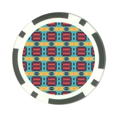 Blue red and yellow shapes pattern Poker Chip Card Guard (10 pack)