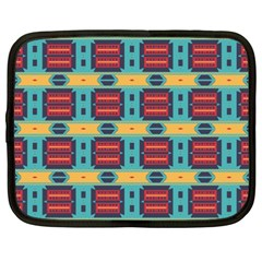 Blue red and yellow shapes pattern Netbook Case (XXL)
