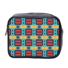 Blue red and yellow shapes pattern Mini Toiletries Bag (Two Sides)