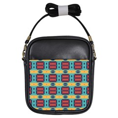 Blue red and yellow shapes pattern Girls Sling Bag