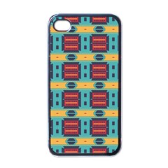Blue red and yellow shapes pattern Apple iPhone 4 Case (Black)