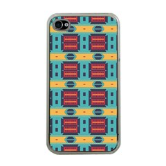 Blue red and yellow shapes pattern Apple iPhone 4 Case (Clear)