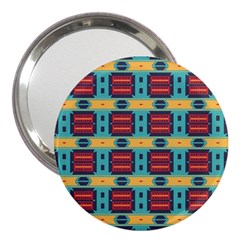 Blue red and yellow shapes pattern 3  Handbag Mirror