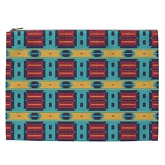 Blue red and yellow shapes pattern Cosmetic Bag (XXL)
