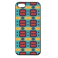 Blue red and yellow shapes pattern Apple iPhone 5 Seamless Case (Black)