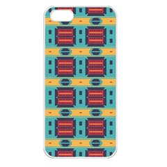Blue red and yellow shapes pattern Apple iPhone 5 Seamless Case (White)