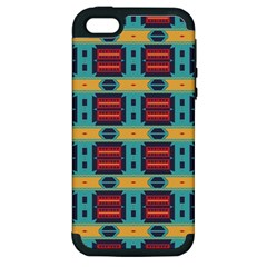 Blue red and yellow shapes pattern Apple iPhone 5 Hardshell Case (PC+Silicone)