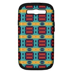Blue red and yellow shapes pattern Samsung Galaxy S III Hardshell Case (PC+Silicone)