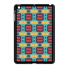 Blue red and yellow shapes pattern Apple iPad Mini Case (Black)