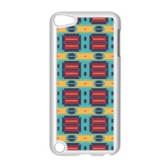 Blue red and yellow shapes pattern Apple iPod Touch 5 Case (White)