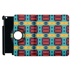 Blue red and yellow shapes pattern Apple iPad 3/4 Flip 360 Case