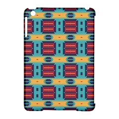 Blue red and yellow shapes pattern Apple iPad Mini Hardshell Case (Compatible with Smart Cover)