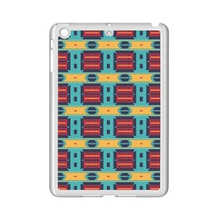 Blue red and yellow shapes pattern Apple iPad Mini 2 Case (White)