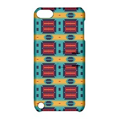Blue red and yellow shapes pattern Apple iPod Touch 5 Hardshell Case with Stand