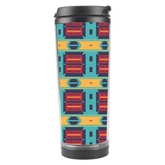 Blue red and yellow shapes pattern Travel Tumbler