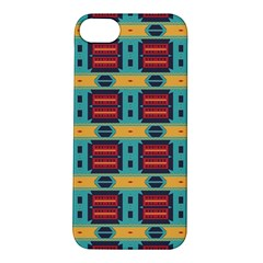 Blue red and yellow shapes pattern Apple iPhone 5S Hardshell Case
