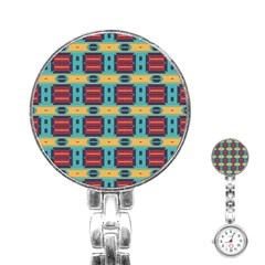 Blue red and yellow shapes pattern Stainless Steel Nurses Watch