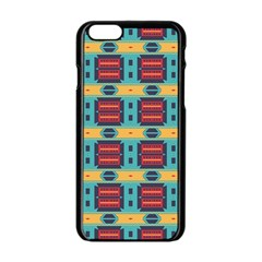 Blue red and yellow shapes pattern Apple iPhone 6 Black Enamel Case