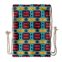 Blue red and yellow shapes pattern Large Drawstring Bag