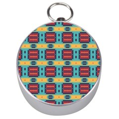 Blue red and yellow shapes pattern Silver Compass