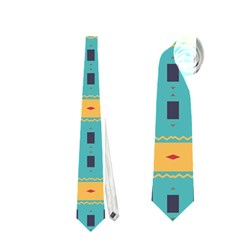 Blue Red And Yellow Shapes Pattern Necktie