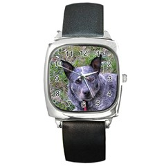 Australian Cattle Dog Blue Square Metal Watches