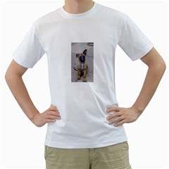 Malinois Puppy Sitting Men s T-Shirt (White) (Two Sided)