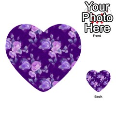Vintage Roses Purple Multi Purpose Cards (heart)
