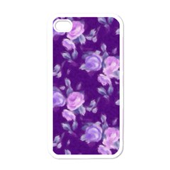 Vintage Roses Purple Apple iPhone 4 Case (White)