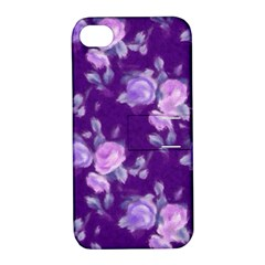 Vintage Roses Purple Apple Iphone 4/4s Hardshell Case With Stand