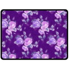 Vintage Roses Purple Double Sided Fleece Blanket (Large)