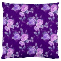 Vintage Roses Purple Large Flano Cushion Cases (One Side)