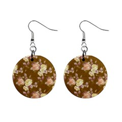 Vintage Roses Golden Mini Button Earrings