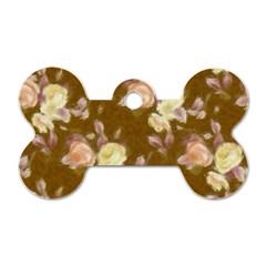 Vintage Roses Golden Dog Tag Bone (Two Sides)