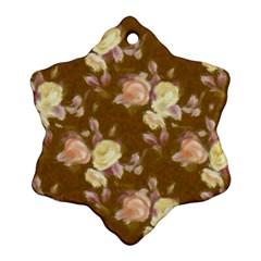 Vintage Roses Golden Snowflake Ornament (2 Side)