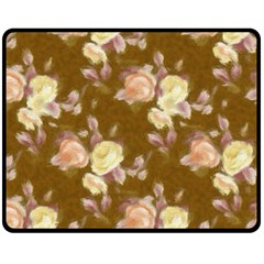 Vintage Roses Golden Double Sided Fleece Blanket (Medium)