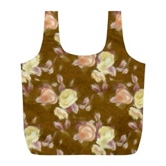 Vintage Roses Golden Full Print Recycle Bags (L)
