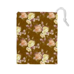 Vintage Roses Golden Drawstring Pouches (Large)