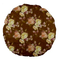 Vintage Roses Golden Large 18  Premium Flano Round Cushions