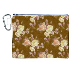 Vintage Roses Golden Canvas Cosmetic Bag (XXL)