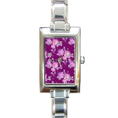 Vintage Roses Pink Rectangle Italian Charm Watches