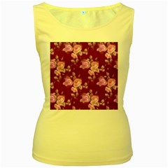 Vintage Roses Pink Women s Yellow Tank Tops