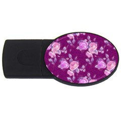 Vintage Roses Pink USB Flash Drive Oval (2 GB)