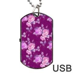Vintage Roses Pink Dog Tag USB Flash (One Side)