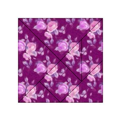 Vintage Roses Pink Acrylic Tangram Puzzle (4  x 4 )