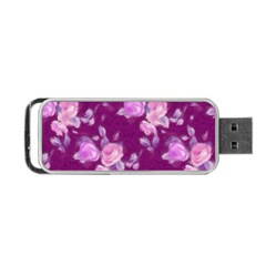 Vintage Roses Pink Portable USB Flash (Two Sides)