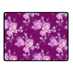 Vintage Roses Pink Double Sided Fleece Blanket (small)