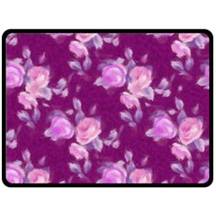 Vintage Roses Pink Double Sided Fleece Blanket (Large)