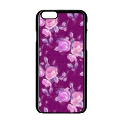 Vintage Roses Pink Apple iPhone 6/6S Black Enamel Case